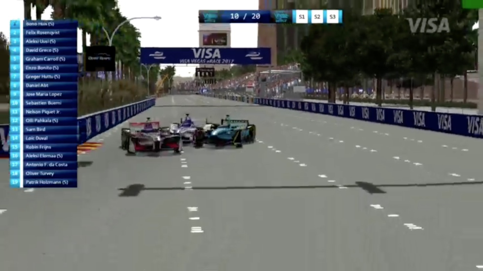 Three into one doesn't go. This would be a costly crash for the three sim racers.