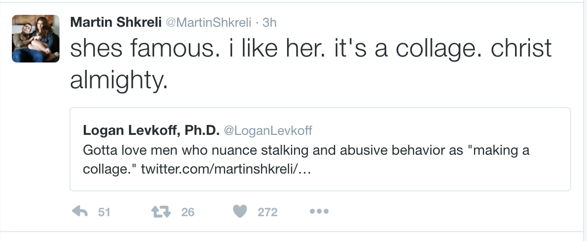 Martin Shkreli's Twitter account was mostly populated with quote replies relating to Lauren Duca, including this one, before his account was suspended.