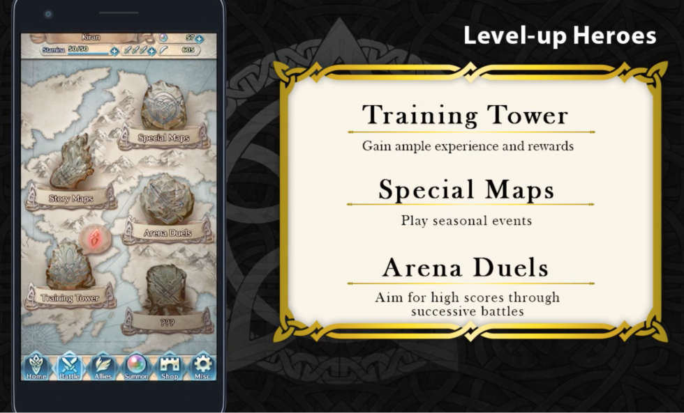 This menu screen hints at the range of experiences Fire Emblem Heroes may offer. Most of these text fields were not explained in the game's announcement trailer.