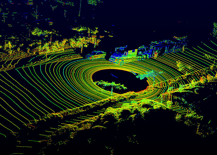 "How the Velodyne LIDAR sees the world. The ""64"" in ""HDL-64E"" refers to the number of channels. There are 64 lasers, so you get 64 lines of data. Also note the center deadzone of data—you're going to need more than just LIDAR if you want to see close to the vehicle."