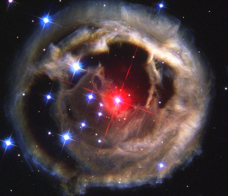 In 2002 the Hubble Space Telescope observed V838 Monocerotis, a suspected red nova.