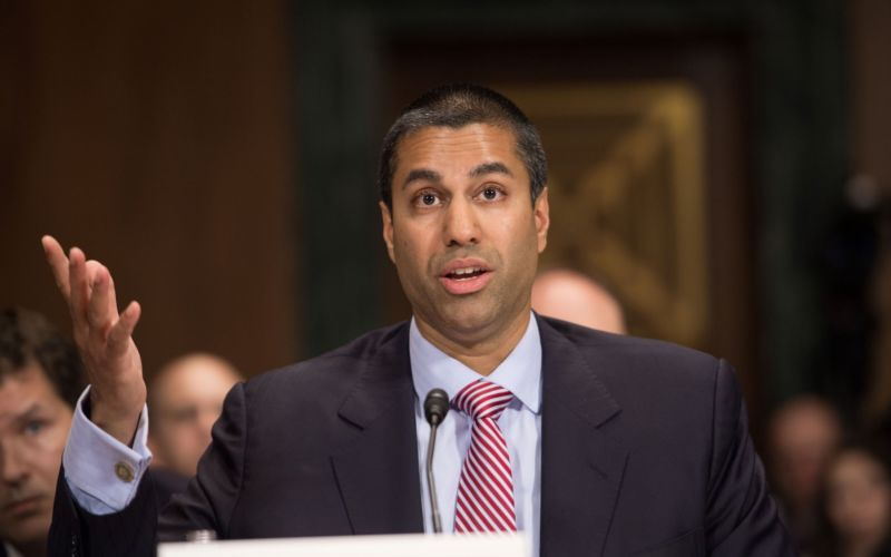 FCC Chairman Ajit Pai testifying before a Senate subcommittee on May 11, 2016, when he was a commissioner.