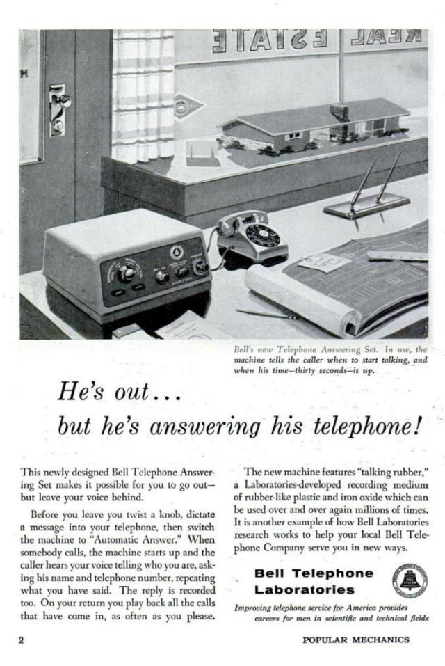 "Bell Labs presents ""talking rubber"" answering machines."