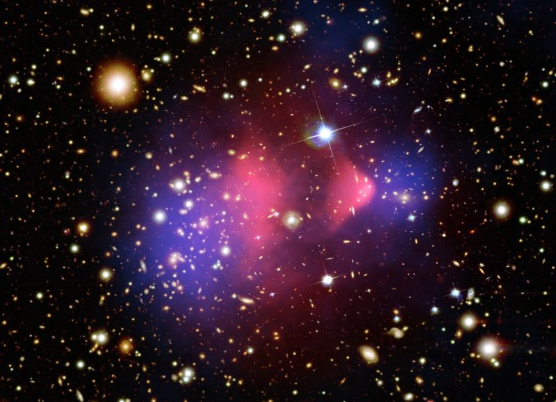 The Bullet Cluster, which has been viewed as a demonstration of dark matter.