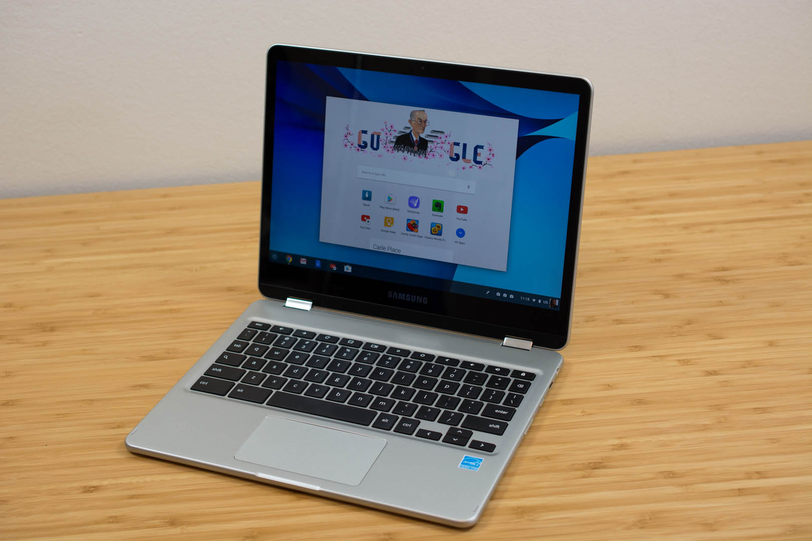 This is technically a pre-production model of the Chromebook Pro; the finished product has a black finish.