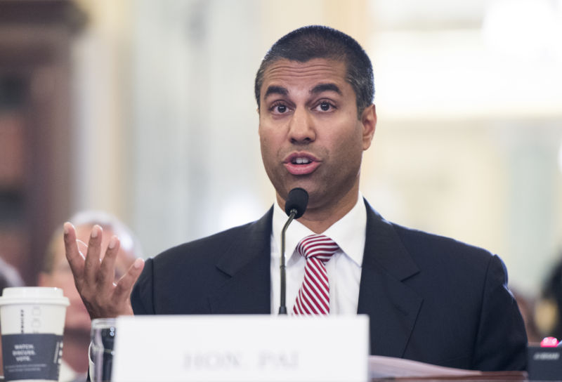 FCC Chairman Ajit Pai testifying before the Senate Commerce Committee in September 2016.