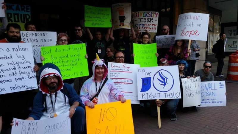 At PAX South, gamers gather to protest Trump