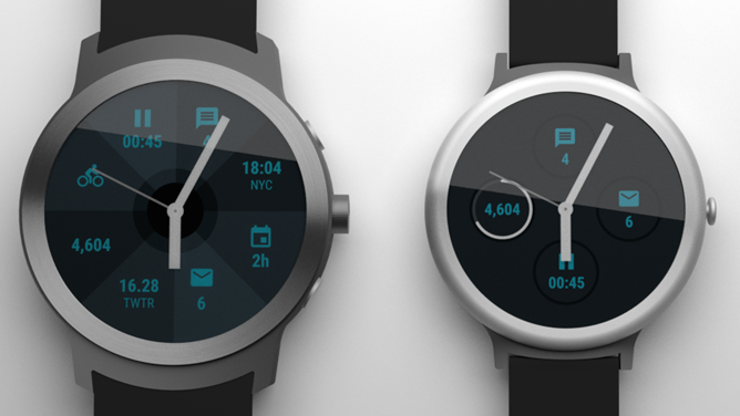 Android Police's mockup of the Google watches, which Blass says are accurate.