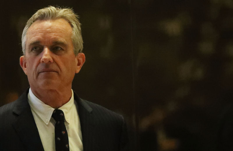 Robert Kennedy Jr. heads up to a meeting at Trump Tower on January 10, 2017 in New York City.
