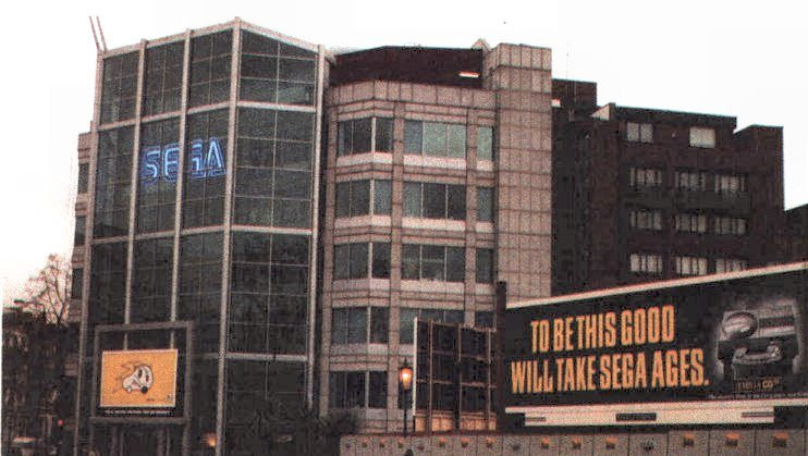 The billboard that Commodore UK paid for outside of Sega's headquarters.