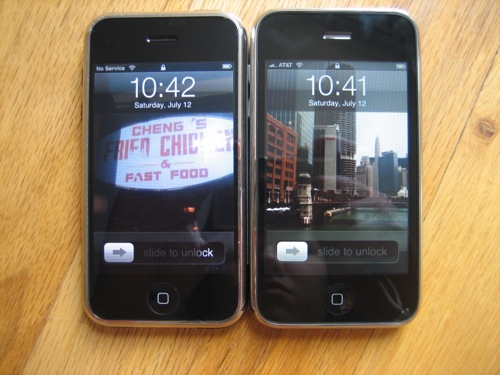 The iPhone on the left, iPhone 3G on the right.