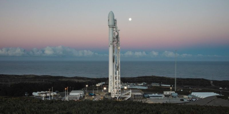 The Falcon 9 rocket for Saturday's Iridium NEXT launch is shown on the pad Friday morning.