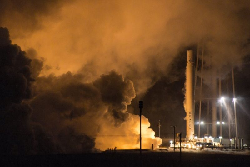 SpaceX completed a static fire test of a flown Falcon 9 booster at its McGregor, Texas, rocket development facility last week.