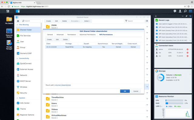 Creating an NFS share on a Synology NAS and modifying its permissions is pretty straightforward.