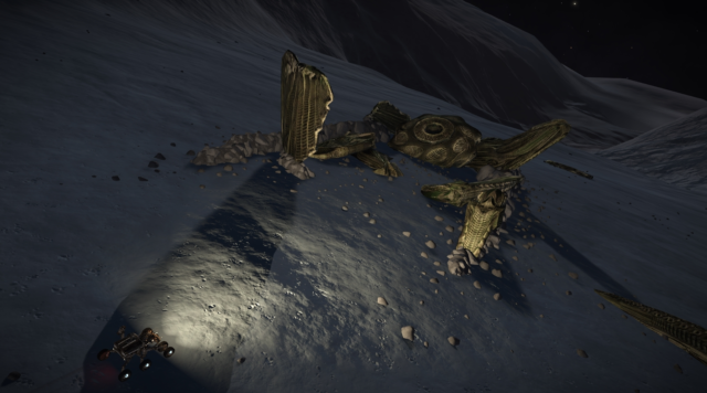 The crashed alien ship on Pleiades Sector AB-W B2-4 9 A appears to be the same design as the ship interdicting pilots out of hyperspace.