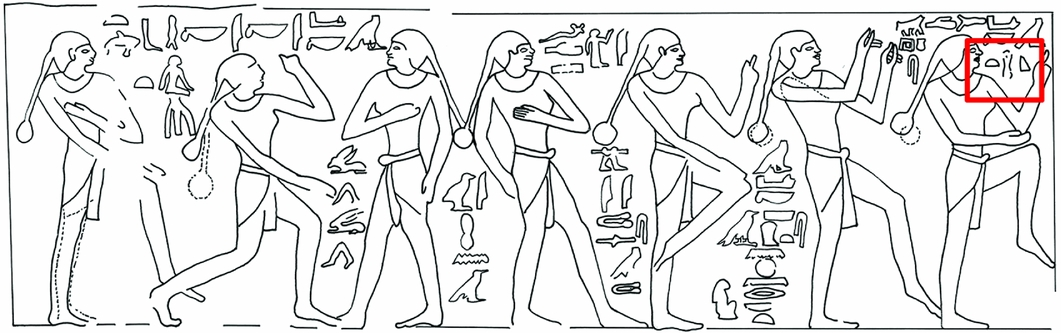 "This is an engraving from the walls of the Sixth Dynasty tomb chapel of Waatetkhethor at Saqqara. The hieroglyph boxed in red means ""pot,"" but it's being used metaphorically to mean ""womb."""