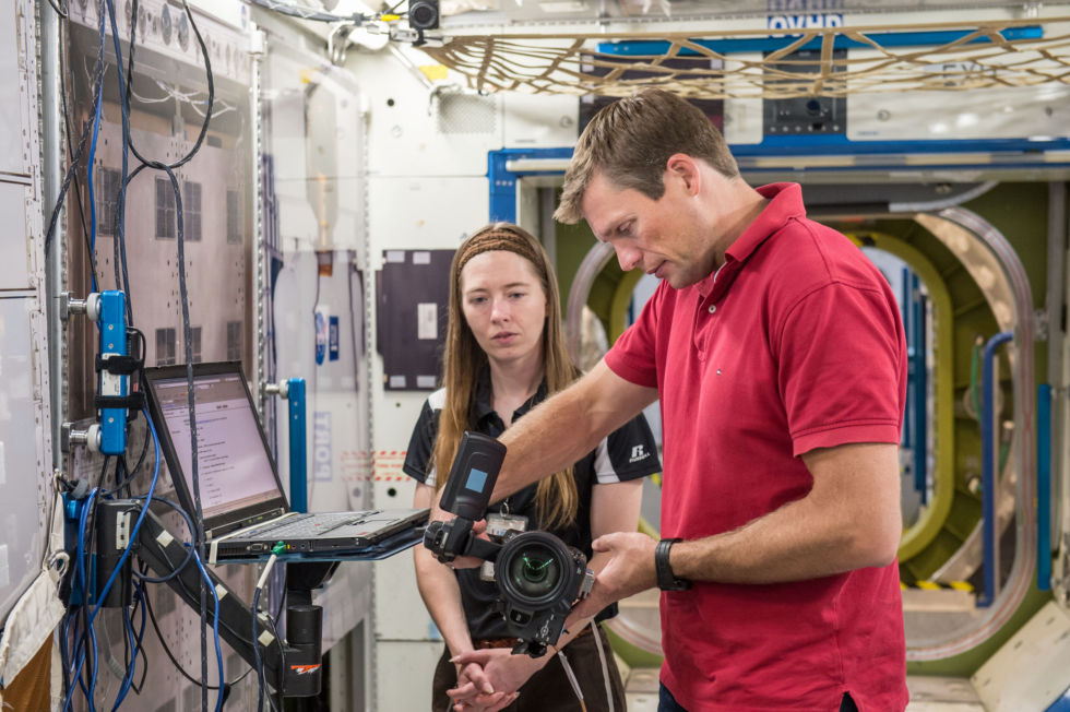 Andreas Mogensen participates in a video camera training session at NASA's Johnson Space Center.