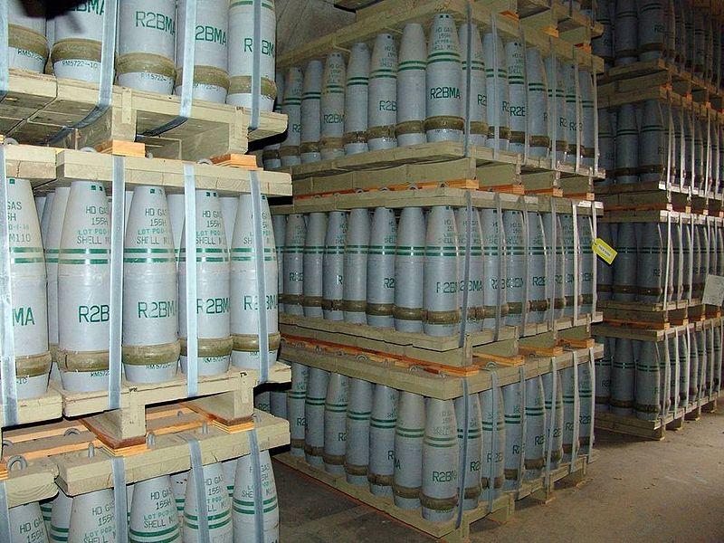 "Pallets of 155mm artillery shells containing ""HD"" (distilled sulfur mustard agent) at Pueblo chemical weapons storage facility."