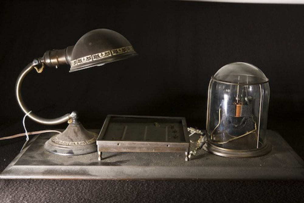 One of the first photovoltaic cells, demonstrated by General Electric.