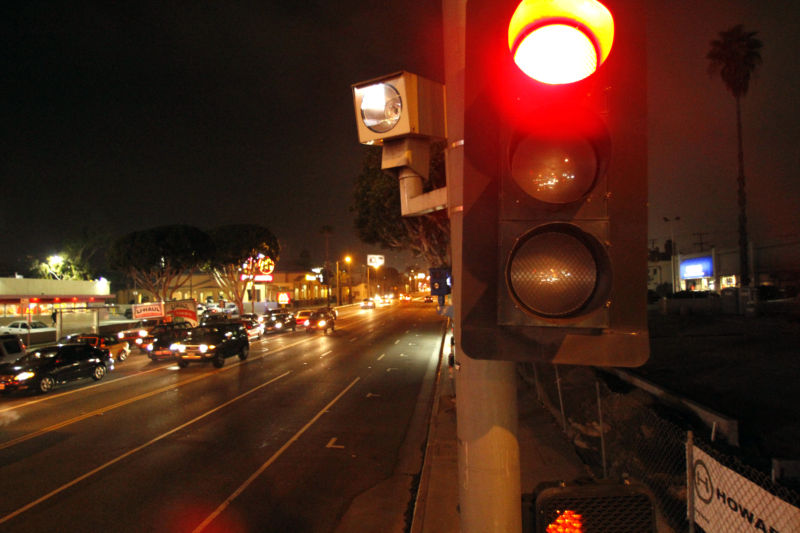 A red light camera is located at La Brea Ave. and Santa Monica Blvd. in Los Angeles.