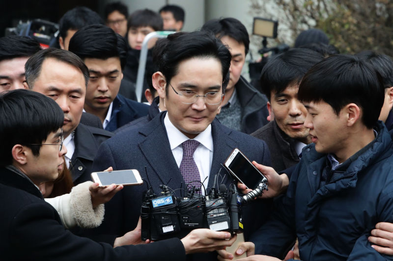 Lee Jae-yong, vice chairman of Samsung, seen here leaving a court hearing in January 2017.