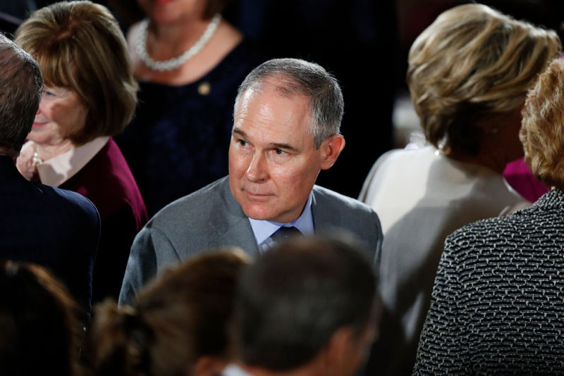 WASHINGTON, DC - JANUARY 20: Oklahoma Attorney General Scott Pruitt, President Donald Trump's nominee to head the Environmental Protection Agency, arrives for the Inaugural Luncheon in the US Capitol January 20, 2017 in Washington, DC. President Donald Trump is attending the luncheon along with other dignitaries after being sworn in as the 45th President of the United States.