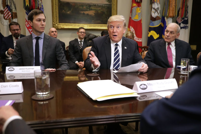 U.S. President Donald Trump  met with a group of government cyber security at the White House January 31, 2017 in Washington, DC, and said the government must do more to protect against cyber attacks. But he doesn't seem to be taking that advice himself, some members of Congress fear.
