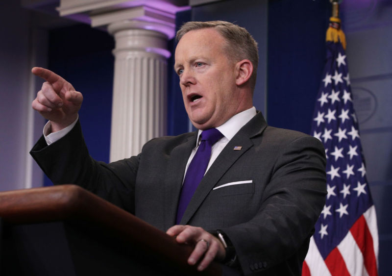 White House Press Secretary Sean Spicer takes questions on February 7. His home address, phone and personal e-mail were discovered in the domain registration data for his now-defunct personal blog.