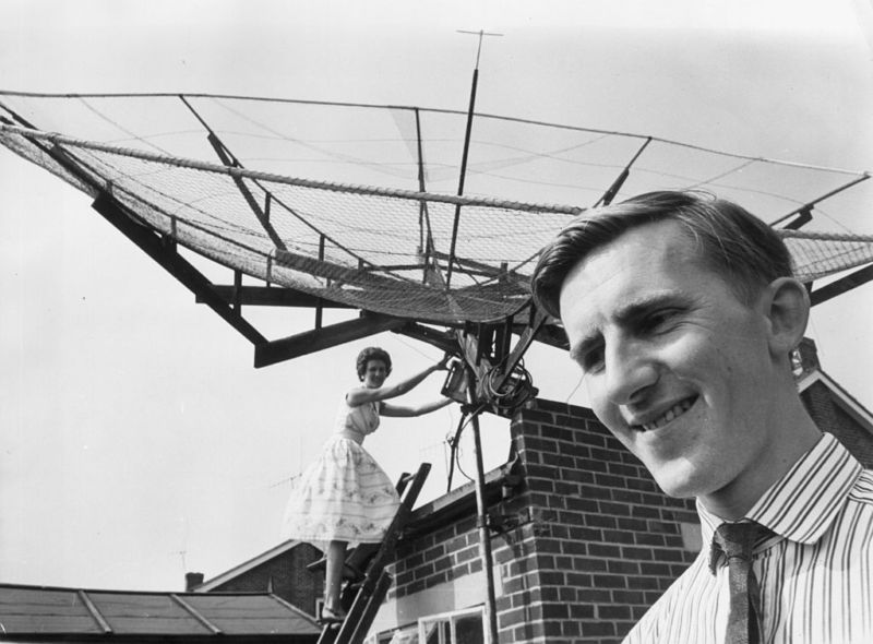 That isn't a 5G base station; it's actually a dish for bouncing Morse code to the moon, back in 1964.