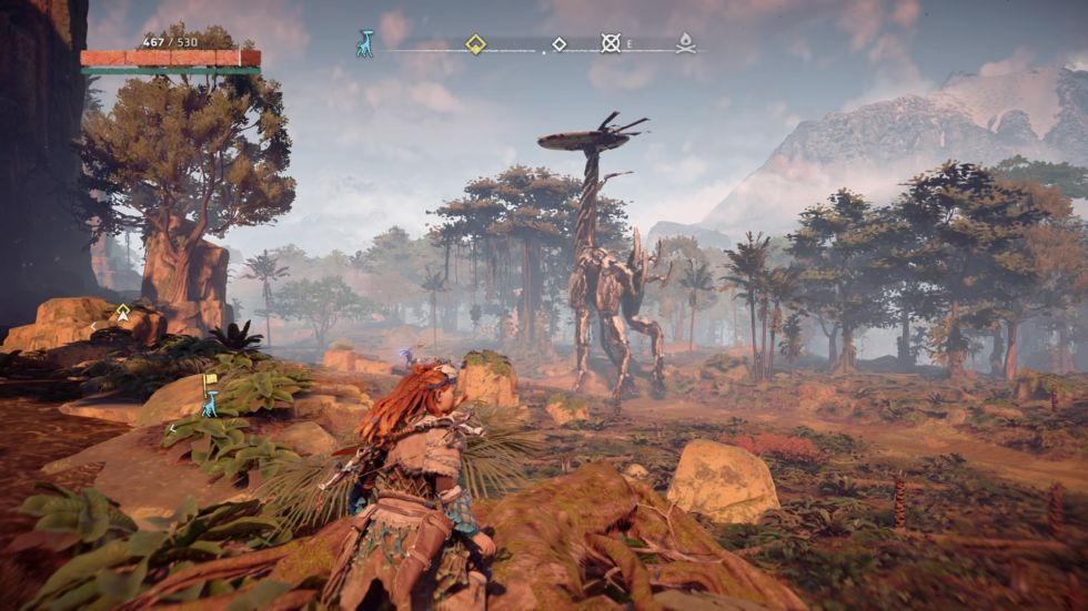 Unlike other robots, the Tallneck is entirely docile. Your mission is to figure out how to jump onto its body and climb to its top. These missions are nowhere near <em>Shadow of the Colossus</em>-caliber, but they're pleasant enough.