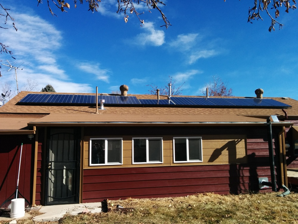 Nik White's house with solar panels in Denver, Colorado.