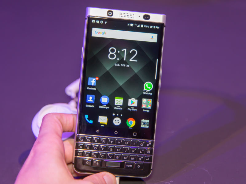 The BlackBerry KeyOne, a 2017 phone that was manufactured under license by a Chinese company, TCL.