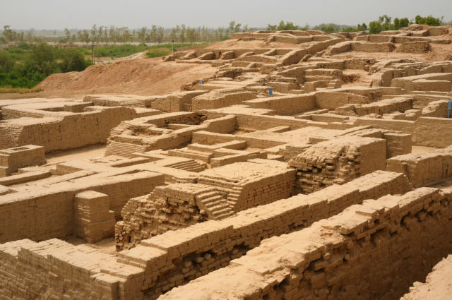 Ruins of Mohenjo-daro, one of the biggest cities of the Indus civilization. It had impressive public fountains, baths, and plumbing. Its water infrastructure was far more advanced than other civilizations in nearby Mesopotamia.