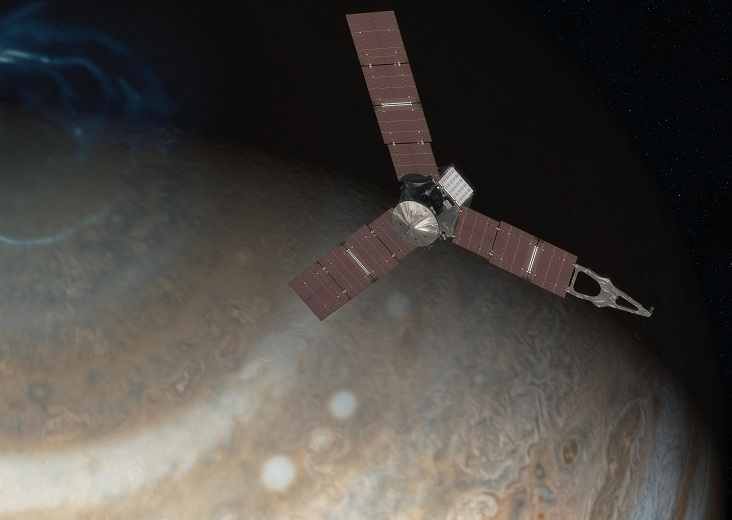 Juno, shown here in an artist's concept image, arrived in the Jupiter system on July 4, 2016.