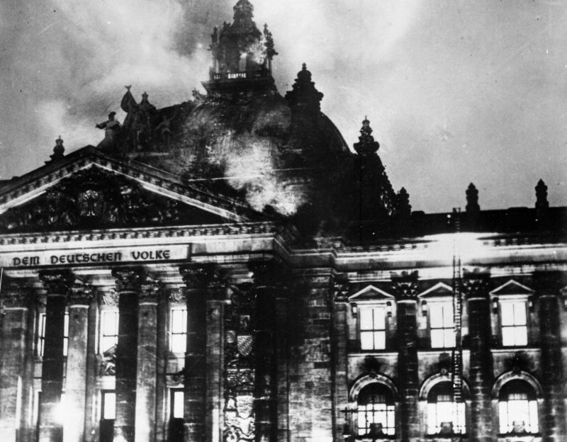 The burning of the Reichstag in 1933. Google searches for information about the Reichstag fire have shot up in the past two weeks.