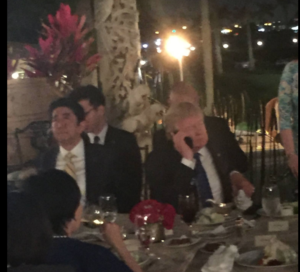In this photo taken by Mar-A-Lago Club member Richard DeAgazio (which he posted to Facebook), President Trump is on the phone discussing the North Korean missile launch on Saturday, February 11.