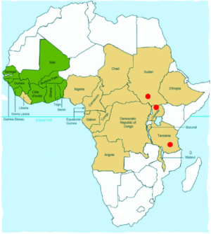 Countries in the former Onchocerciasis Control Programme in western Africa in which onchocerciasis was eliminated as a public health problem through vector control (green); countries in the African Programme for Onchocerciasis Control in which onchocerciasis control is ongoing through annual mass treatment with ivermectin (beige); and areas in Southern Sudan, northern Uganda, and southern Tanzania in which nodding syndrome has been reported (red circles).