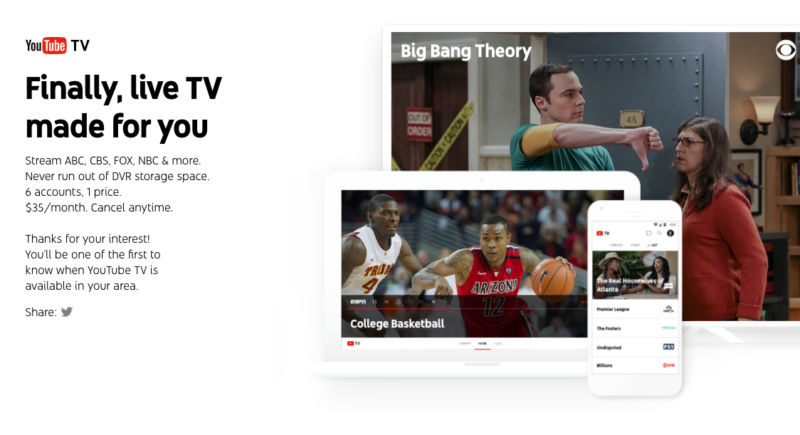 6e7ed59e7245 YouTube TV is the company s new live TV subscription service
