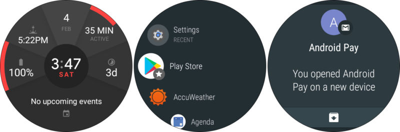 The Android Wear 2.0 watch face, app drawer, and a notification.