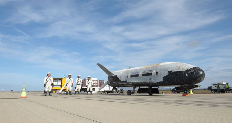 The X-37B is shown after the end of its third mission in 2014.