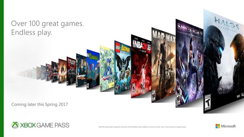 A promotional image shows some of the games you'll be able to download for one monthly subscription price through Xbox Game Pass.