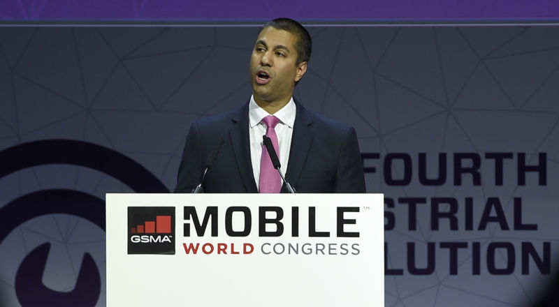FCC Chairman Ajit Pai speaks during a keynote speech at Mobile World Congress in Barcelona on February 28, 2017.