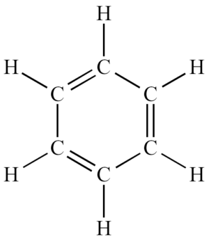 A view of benzene with all the chemical bonds drawn out. Rather than being distinct double and single bonds, they generally behaved like a delocalized electron cloud.