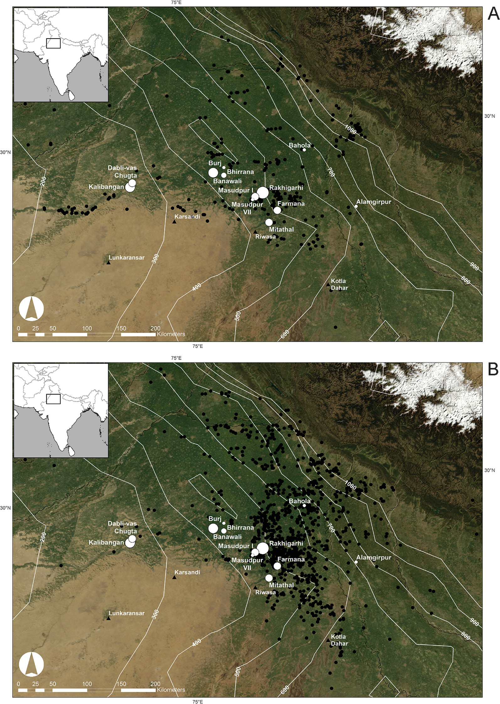 Here you can see distribution of urban-phase Indus settlements (A) and post-urban-phase Indus settlements (B) in northwest India and their relationship to mean annual rainfall (1900–2008). It's clear that sites moved eastward over time, possibly to capture more rain as the monsoons weakened to the state they're in today. Major Indus sites and sites investigated by the Land, Water and Settlement project are shown in white.