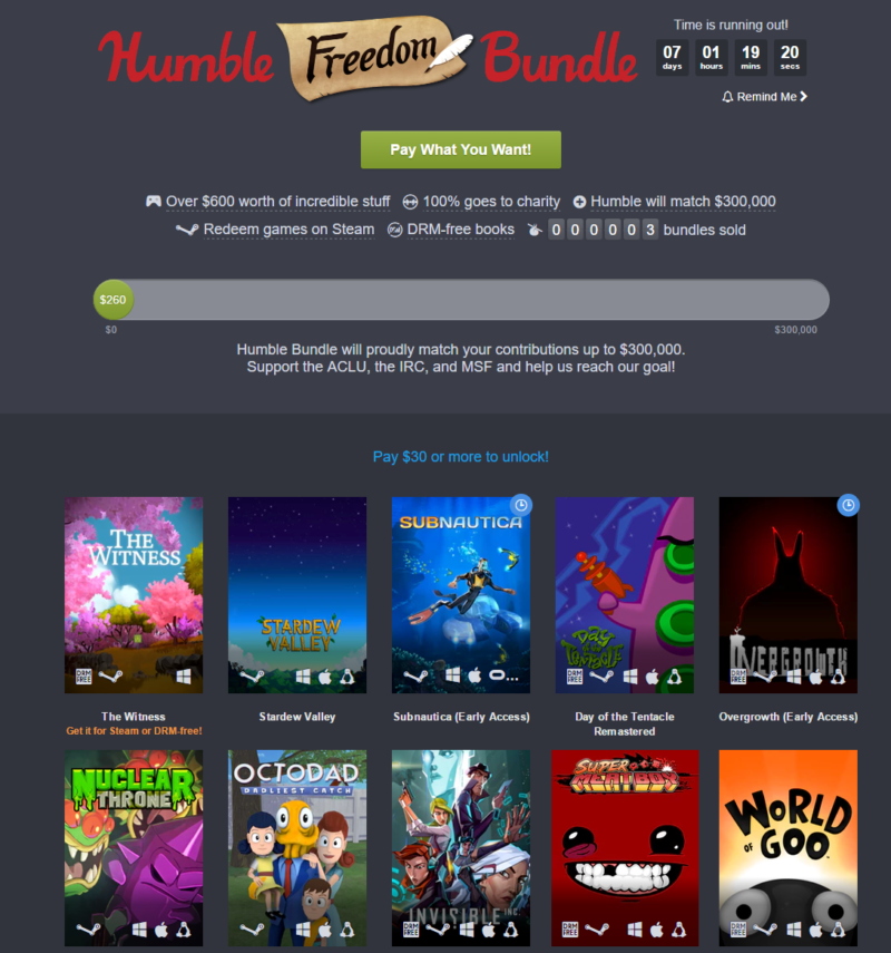The Humble Freedom Bundle page as it looked just before launch Monday.