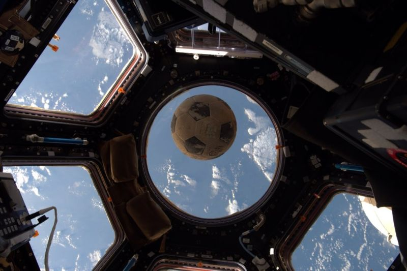 A soccer ball flown on Challenger in 1986 has finally made it into space.