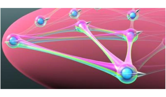 A quantum many-body spin system, visualizing the complicated interactions among the particles.