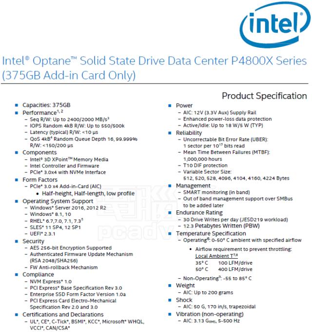 P4800X spec sheet.