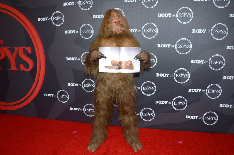 Look, Sasquatch is real, okay? Here's a picture of him, working in his current gig for Jack Link's jerky. Case closed.