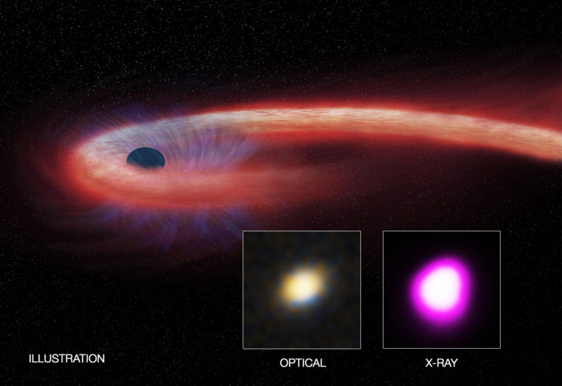 "This artist's illustration depicts what astronomers call a ""tidal disruption event,"" when an object such as a star wanders too close to a black hole and is destroyed by the black hole's intense gravitational field."